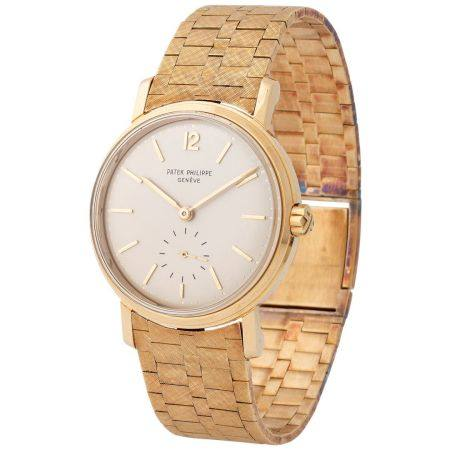 Patek Philippe. Extremely Rare and Attractive Calatrava Automatic Wristwatch in Yellow Gold, Re