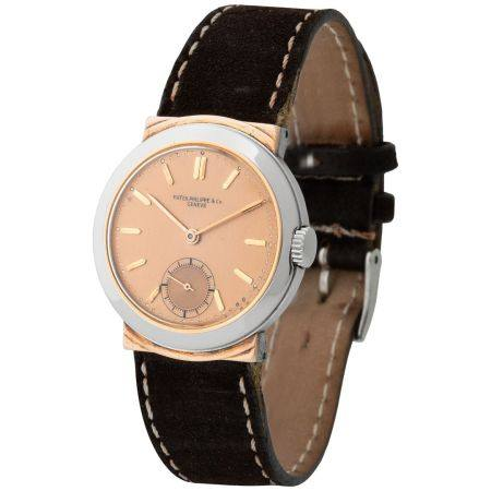 Patek Philippe. Special and Rare Calatrava Wristwatch in Steel and Pink Gold, Reference 544, Wi
