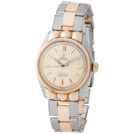 Rolex. Sought after and Desired Water-Resistant Automatic Wristwatch in Steel and Pink Gold, Re