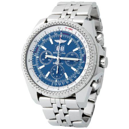Breitling. Large and Very Rare Bentley Chronograph Wirstwatch in Steel, With Blue Dial, Full-Se