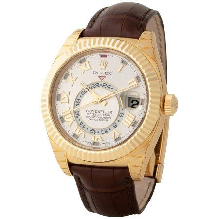 Rolex. Large and Massive Sky-Dweller Automatic Wristwatch in Yellow Gold, Reference 326 138, Wi