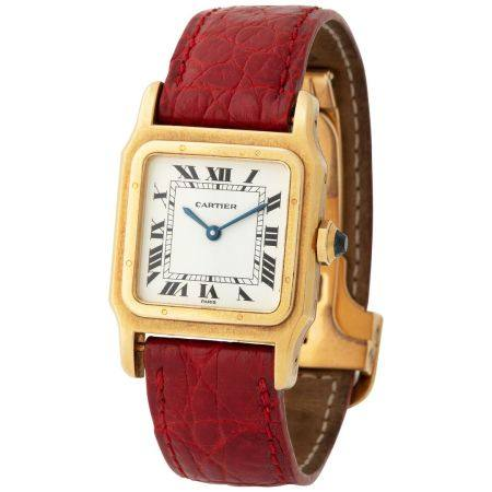 Cartier. Very Elegant Santos Square-Shape Wristwatch in Yellow Gold, With Black Roman Numbers