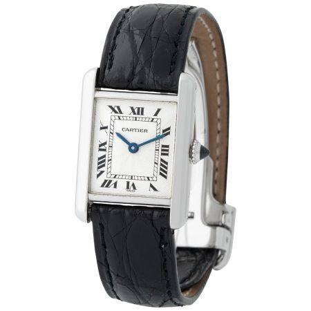 Cartier. Fine and Charming Tank Wristwatch in Platinum, Reference 1611-1 With Roman Black Numbe