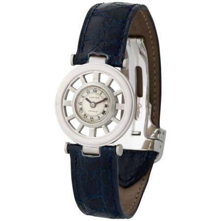 Cartier. Fine and Charming Round Squelette Gouvernail-Shape Wristwatch in White Gold, With Two-