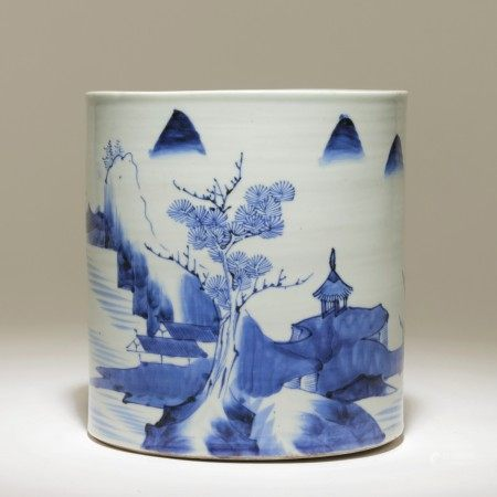 民國 青花山水紋筆筒