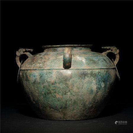 戰國 青銅螭虎雙環缶
