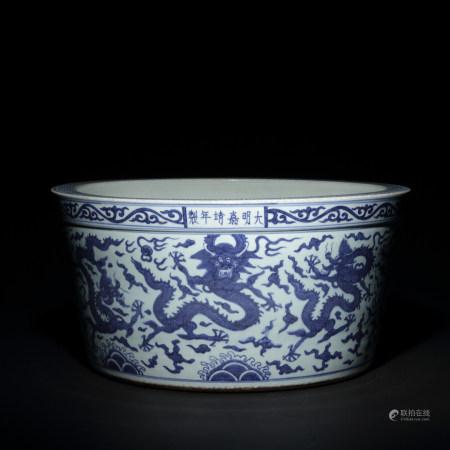 明 青花龍紋大魚缸
