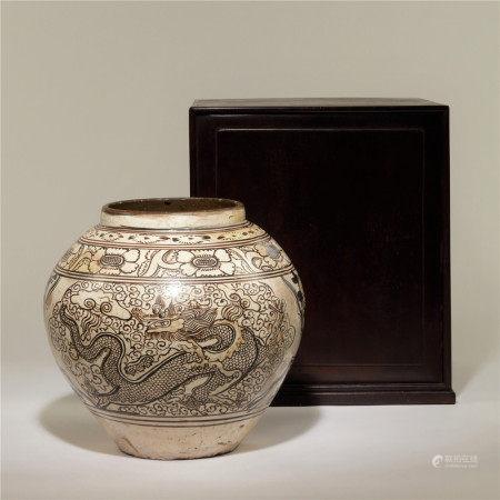 宋 龍鳳紋磁州窯罐