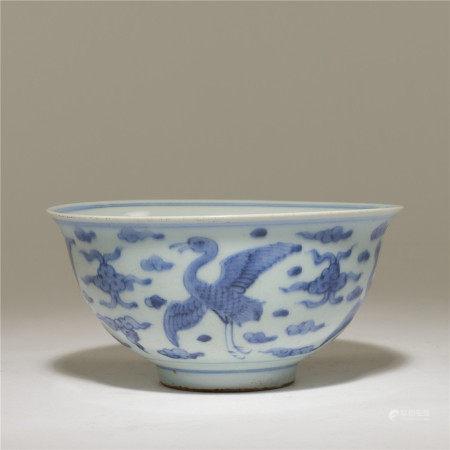 清 青花鶴紋碗