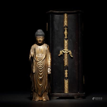 十七世紀 木雕漆金佛陀像
