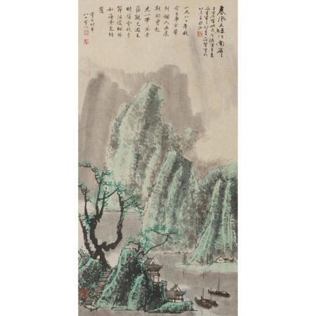 存賢畫白雪石題 春風又綠江南岸圖