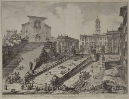 Giambattista PIRANESI (1720-1778) Veduta del Romano Campidoglio con Scalinata che va alla Chies