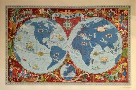 Lucien BOUCHER (1889-1971) Planisphère Air France, Sur les ailes d'Air France découvrez le mond