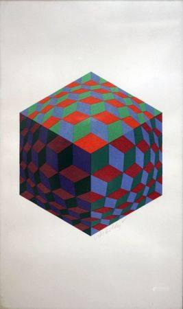Victor VASARELY (1906-1997) Composition hexagonale. Lithographie signée. 49 x 29 cm