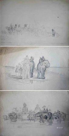 Charles Émile Vacher DE TOURNEMINE (1812-1872) Lot d'environ soixante et onze de dessins à la m