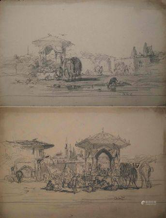 Charles Émile Vacher DE TOURNEMINE (1812-1872) Lot d'environ 102 dessins essentiellement Turqui
