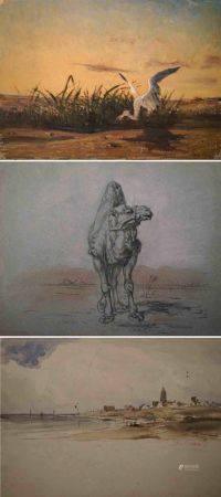 Charles Émile Vacher DE TOURNEMINE (1812-1872)  Héron pêchant. Huile sur toile sans châssis sig