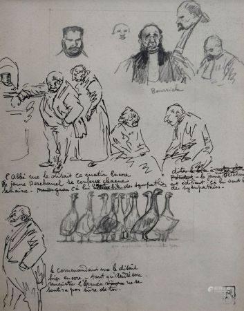 Théophile Alexandre STEINLEN (1859-1923) Etudes pour des hommes de justice, et des oies. Dessin