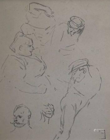 Théophile Alexandre STEINLEN (1859-1923) Etudes de femme et d'hommes. Dessin à la mine de plomb