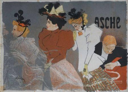 Théophile Alexandre STEINLEN (1859-1923) Asche. Affiche en couleurs. (Petite déchirure). 20 x 2
