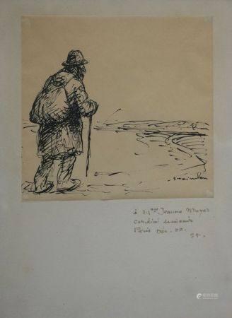 Théophile Alexandre STEINLEN (1859-1923) Cheminot. Dessin à l'encre sur papier fin signé, contr
