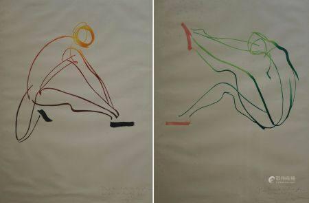 Raymond GID (1905-2000) Homme et femme. Deux études aux encres de couleurs pour Bally signé, da