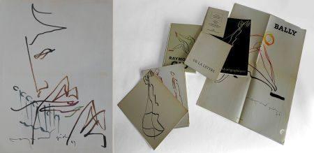 Raymond GID (1905-2000) Tête de faune jouant de la flûte. Encres de couleurs signé, daté 89 en