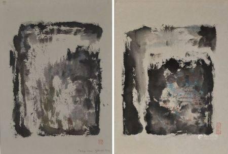 CHEN Dehong (1936) Deux compositions. Encre de Chine, et encres de couleurs l'une signée, datée