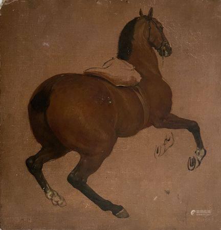 Adam Frans van der MEULEN (1632-1690) (Attribué à) Etude de cheval. Toile marouflée sur carton.