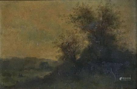 Victor DELAUNAY XIXe-XXe (Attribué à) Paysage de sous bois animé. Huile sur panneau signé en ba