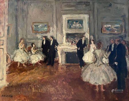 Marcel COSSON (1878-1956). Le foyer de l'Opéra. Huile sur Isorel signé en bas à gauche. 37,5 x