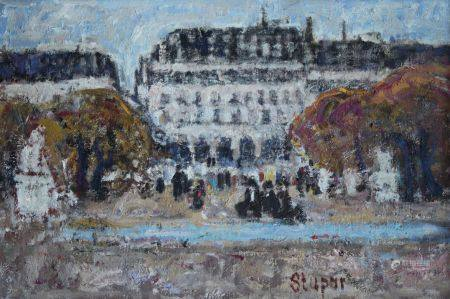 Marko STUPAR (1936) Animation au jardin des Tuileries. Huile sur toile signée en bas vers la dr