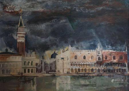 Henri de WAROQUIER (1881-1970). Le Palais des doges vu de la lagune. Huile sur toile encadrée s