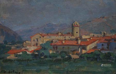Eugène Benjamin SELMY (1874-1945). Paysage aux toits rouges. Huile sur panneau. 18, 5 x 27 cm.