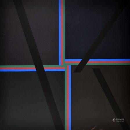 Eduardo JONQUIERES (1918-2000) Composition, bandes de couleurs croisées sur fond noir, 1984. Hu