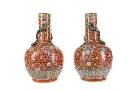 A PAIR OF LATE 19TH CENTURY CHINESE BOTTLE SHAPED VASES