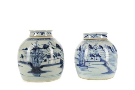 A LOT OF TWO EARLY 20TH CENTURY CHINESE GINGER JARS AND COVERS