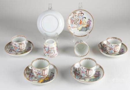 Six Chinese cups + saucers
