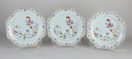3 Chinese Family Rose plates