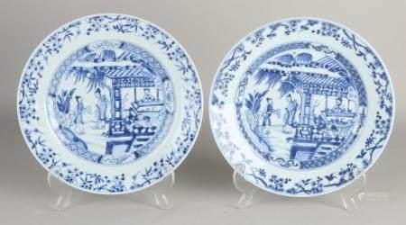 2 Chinese plates Ø 23 cm.