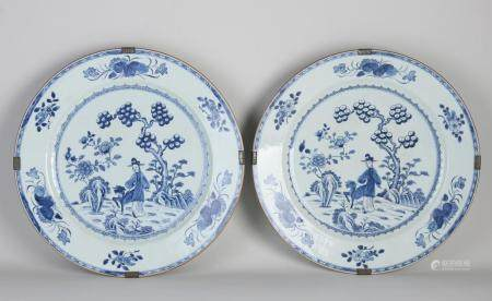 Two large Chinese dishes Ø 38 cm.