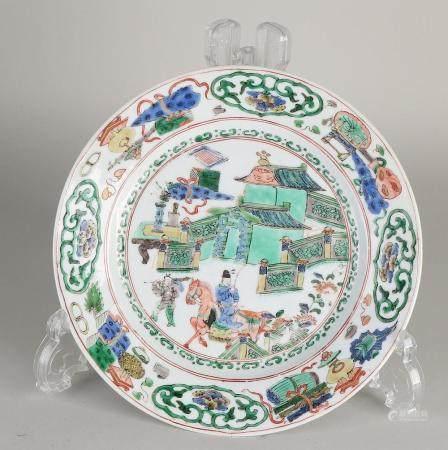 Chinese Kang Xi - Family Verte plate Ø 21.5 cm.