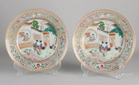 Two Familie Rose plates Ø 22.7 cm.