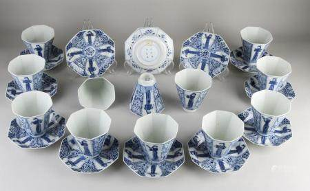 12 Chinese chocolate cups + saucers