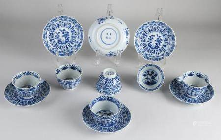 Six Chinese cups / saucers