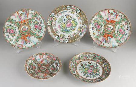 5 Chinese Canton plates