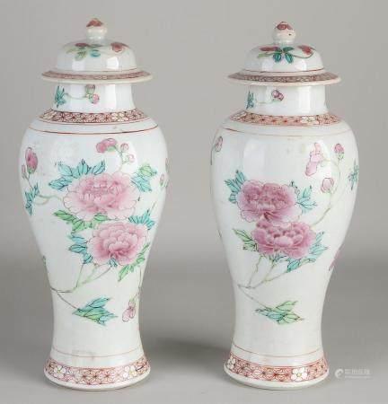 2 Chinese Family Rose lidded vases