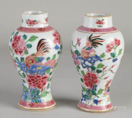 Two Chinese Family Rose vases, H 14 cm.