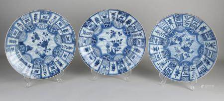 Three Chinese plates Ø 27.5 cm.