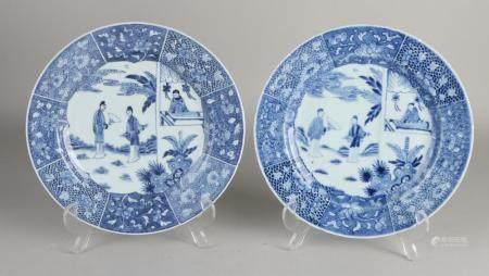 2 Chinese plates, Ø 23.5 cm.